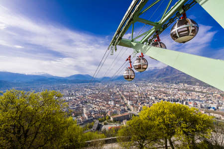 Grenoble city and cable car seeing from Bastille viewpoint in France