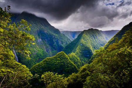 Landscape of Takamaka Valley during a cloudy day, Reunion Island