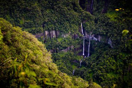 Beautilful waterfall at Takamaka Valley, Reunion Island