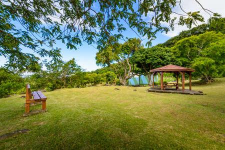 Pinic place during summer at Saint Rose, Reunion Island Stok Fotoğraf