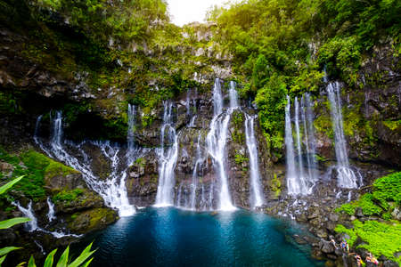 Waterfall of Grand Galet, Langevin at Reunion Island 写真素材