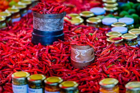 Red and green spice at Saint Paul market place, Reunion Island 写真素材
