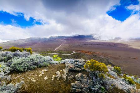 La Plaine des Sables, volcano area at Reunion Island Stok Fotoğraf