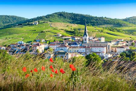 Le Perreon village at morning, Landscape of Beaujolais, France 版權商用圖片