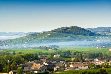 Brouilly hill, Cercie and Morgon village, Beaujolais, France 版權商用圖片