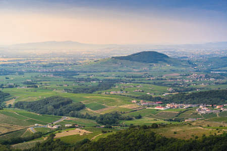 Brouilly mountain and landsacpe, Beaujolais, France