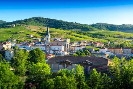Le Perreon village at morning, Landscape of Beaujolais, France Фото со стока
