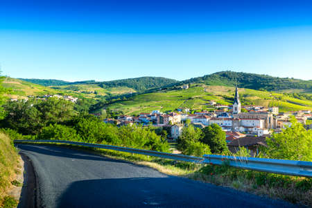 Le Perreon village at morning, Landscape of Beaujolais, France Фото со стока - 131695517