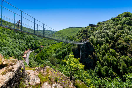 Hautpoul footbridge over the Arnette valley close to Mazamet city in France