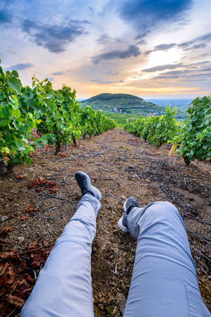 Backpacker legs and landscape of Mont Brouilly hill and vineyards of Beaujolais, France Фото со стока