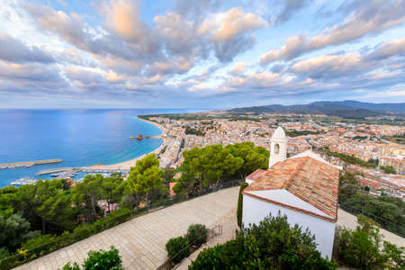 Beach and coast of Blanes city seen from Castell Sant Joan in Spain