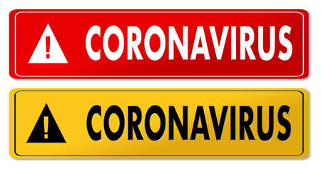 Coronavirus danger panels in red and yellow design Фото со стока
