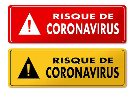 Coronavirus danger panels in red and yellow design and french translation