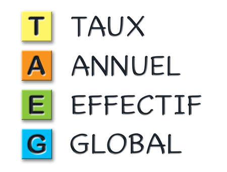 TAEG initiales 3d en cubes 3d colorés avec sens 3d en français