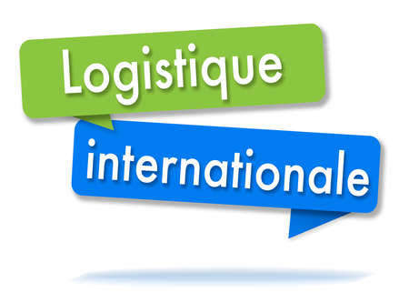 International logistics in two colored green and blue speech bubbles and french language