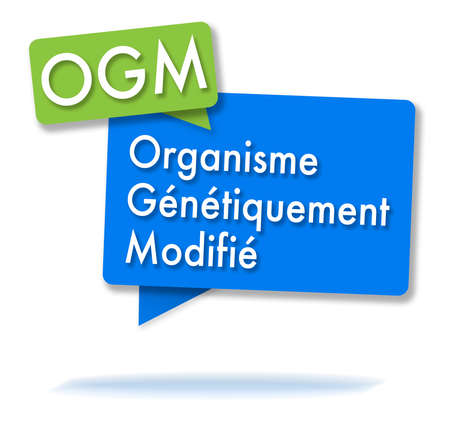 French OGM initials in two colored green and blue bubbles