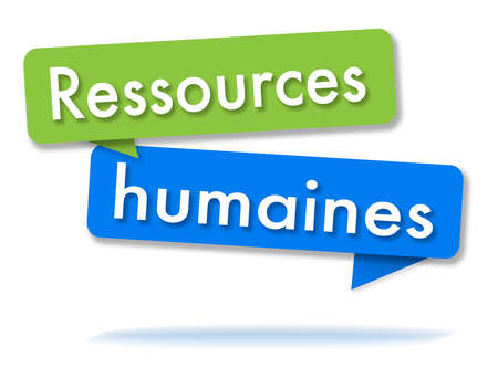 Human ressources in two colored green and blue speech bubbles and french language