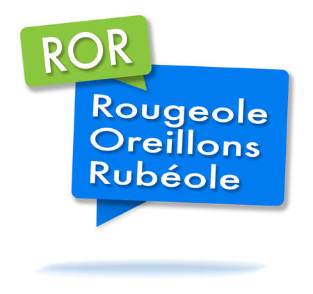 French ROR initials in two colored green and blue bubbles Foto de archivo