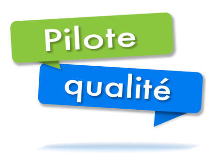 Quality pilot in two colored green and blue speech bubbles and french language