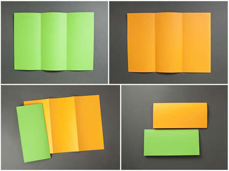 identity design, corporate templates, company style, blank orange and green folding paper flyer on gray background photo