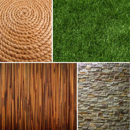 Collection of textures backgrounds - bamboo, rope, grass, Pattern of Modern Brick Wall photo