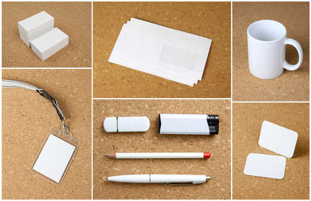 White collection of stationery on corkboard background photo