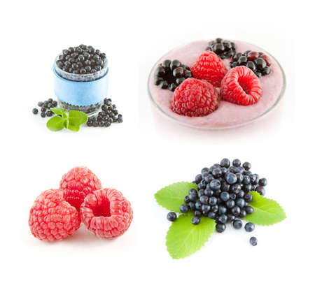 Raspberries and blueberries on white background. Fruit smoothie photo
