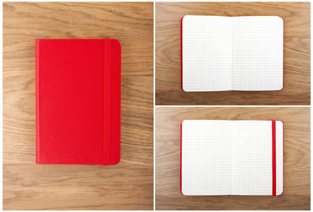 blank book cover: Set of red open and closed notebooks on the table