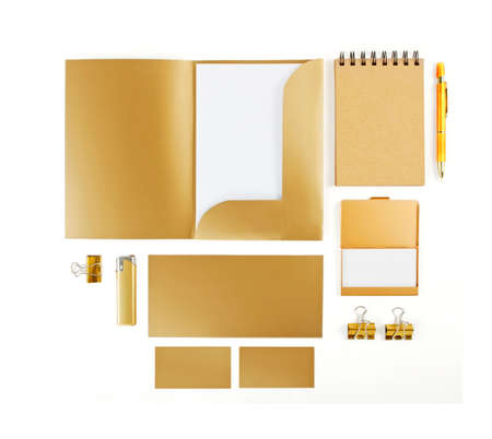paper craft: Elements of corporate identity, golden corporate identity, golden design elements, set to accommodate corporate identity, collection of corporate identity, isolated on white background