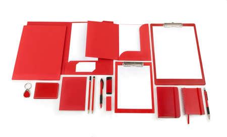 accommodate: Elements of corporate identity, red corporate identity, black design elements, set to accommodate corporate identity, collection of corporate identity, isolated on white background