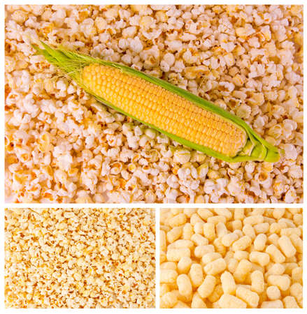 corn meal: photo corn products, tasty corn products, ear of corn, background of popcorn, ripe corn, corn meal, a variety of products made from corn