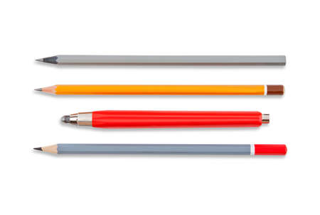 collet: lead pencils isolated on white, several pencils, mechanical pencil Stock Photo