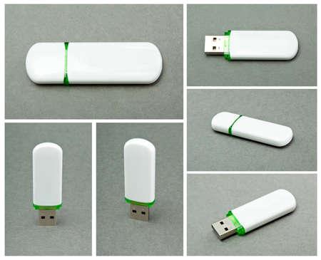 USB Flash Drive on gray background photo