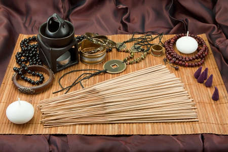 vedic: Still life with spices, Buddhist accessories, Indian spices, Vedic jewelry, Set for relaxation Stock Photo