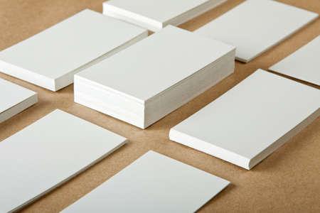 blank business cards on crafts background Reklamní fotografie