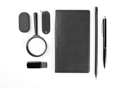 Black Elements of corporate identity, set of office stationery, isolated on white background photo