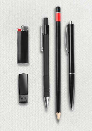 Pen, pencil, ligter and flash drive set photo