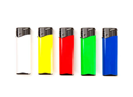 set of colored lighters, isolated on white background photo