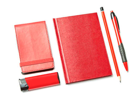 Red elements of corporate identity, set of office stationery, isolated on white background photo