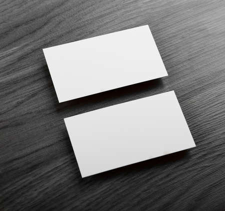 note card: identity design, corporate templates, company style, blank business cards on a wooden background