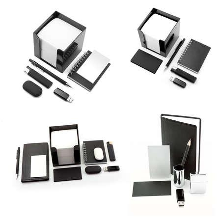set of office stationery, isolated on white background photo