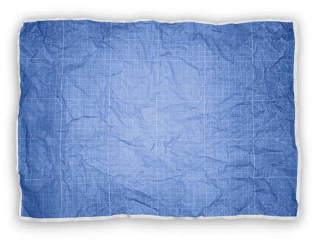 Wrinkled engineering graph paper. Blue graph paper background