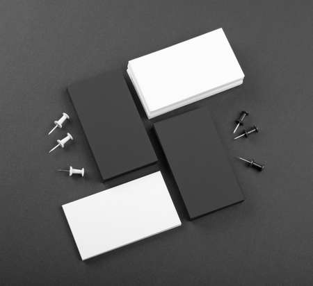whote: identity design, corporate templates, company style, black and whote business cards on a black background Stock Photo