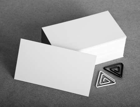 Blank business cards with clip on crafts background, identity design, corporate templates, company style Reklamní fotografie
