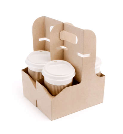 take-out coffee in holder on white background Reklamní fotografie