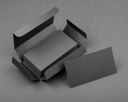 Gray business cards in the gray box Reklamní fotografie