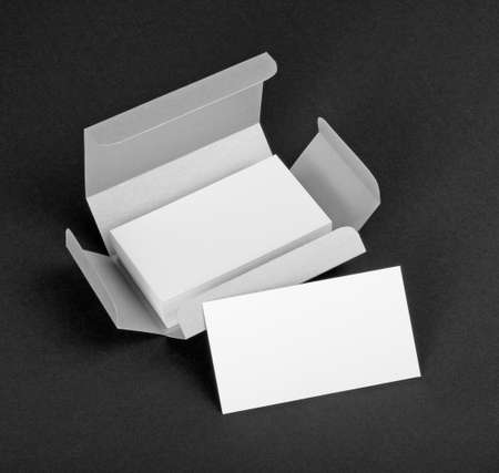 silvery: White business cards in the silvery box