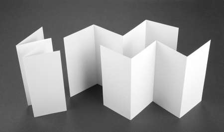 blank white folding paper flyers Stock Photo