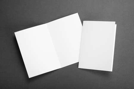 hoja en blanco: dise�o de identidad, plantillas corporativas, el estilo de la empresa, un conjunto de folletos, volantes de papel plegado en blanco Foto de archivo