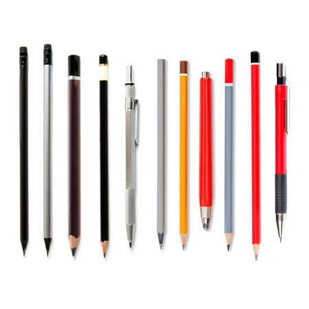 sharp pencil: Lead pencils isolated on white, several pencils, mechanical pencil